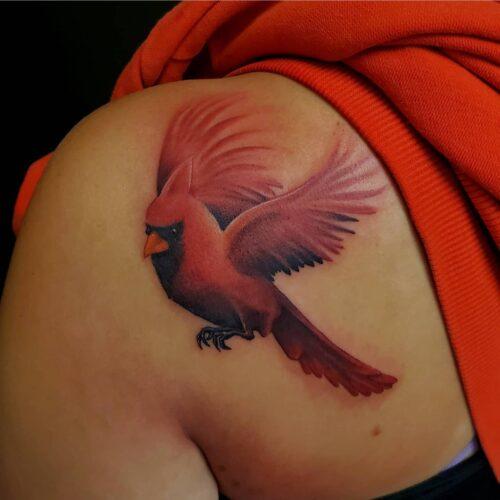 Cardinal tattoo by Karl Schneider