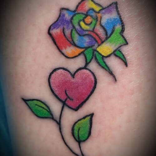Chris Dorn Flower and Heart tattoo