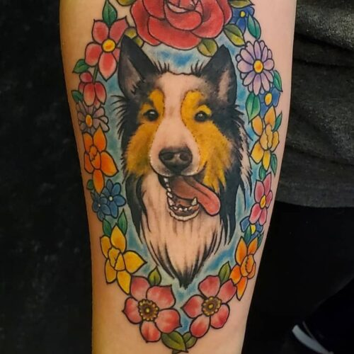 Dog tattoo by Karl Schneider