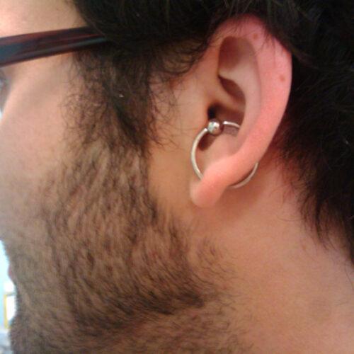 Orbital ear piercing by Brandon Bohlman at Cactus Tattoo & Piercing in Mankato, MN