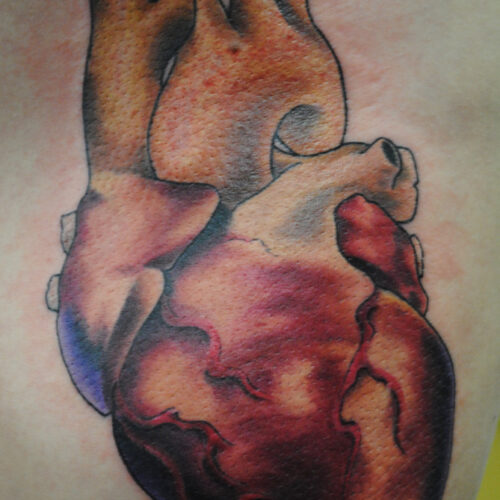 Realistic heart tattoo by Rob Foster at Cactus Tattoo in Mankato