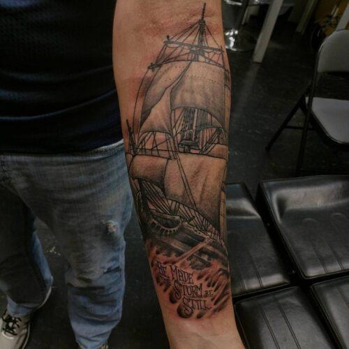 Sleeve tattoo by Karl Schneider