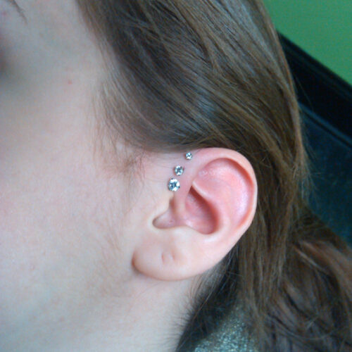 Triple Forward Helix Ear Piercing in Mankato MN