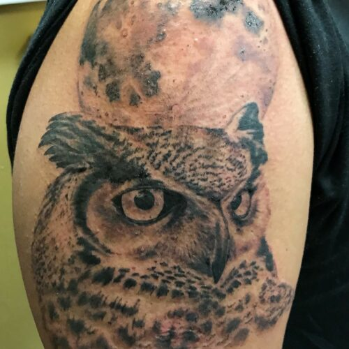 owl shoulder tattoo by Makeba Ische at Cactus Tattoo in Mankato