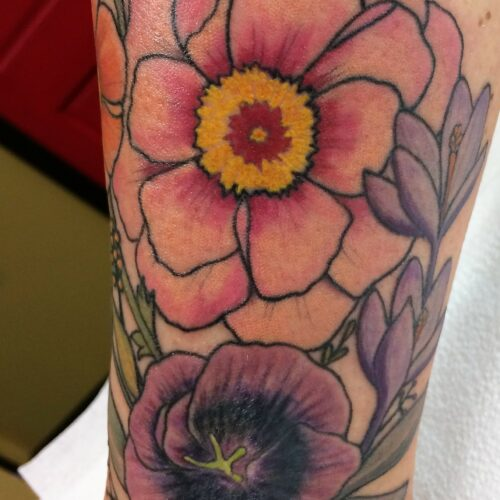 wild flower tattoo by Makeba Ische at Cactus Tattoo in Mankato